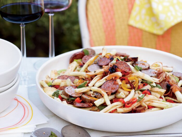 Pasta salad with grilled sausages and peppers recipe marcia kiesel 201006 r pasta saladg forumfinder Choice Image