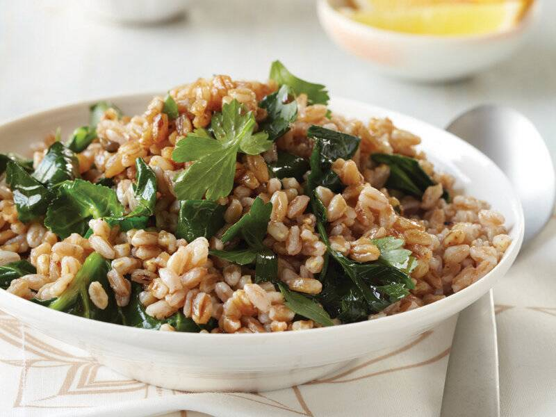 Toasted Farro With Greens And Tahini Recipe Kevin Gillespie Food