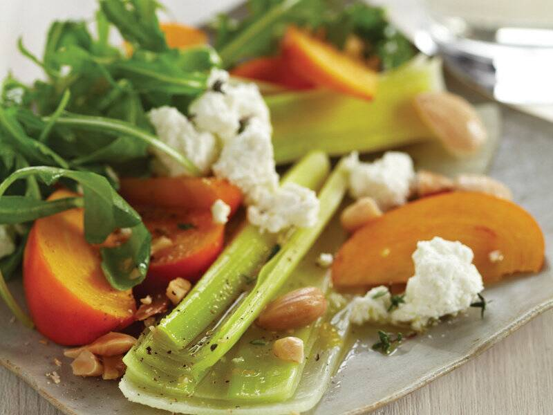 leek salad with persimmons and almonds recipe hugh acheson food