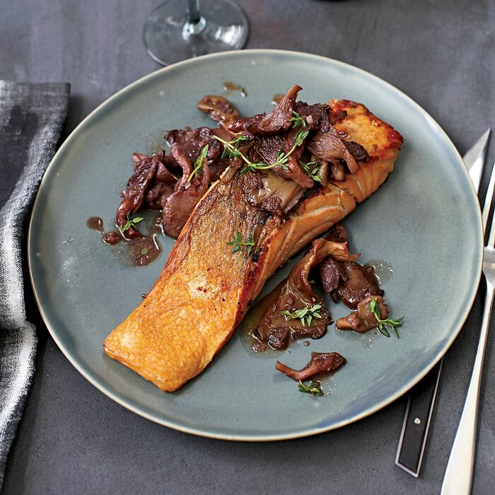 Roasted salmon with oyster mushrooms in red wine recipe jason roasted salmon with oyster mushrooms in red wine recipe jason franey food wine forumfinder Image collections