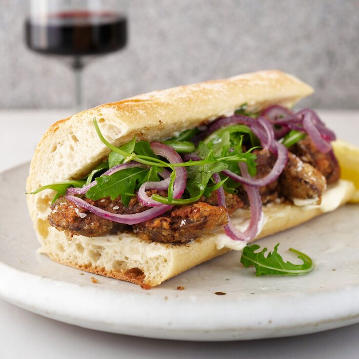 Fried chicken liver and sauted onion po boys recipe grace parisi 201011 r chicken liver po boyg forumfinder Image collections