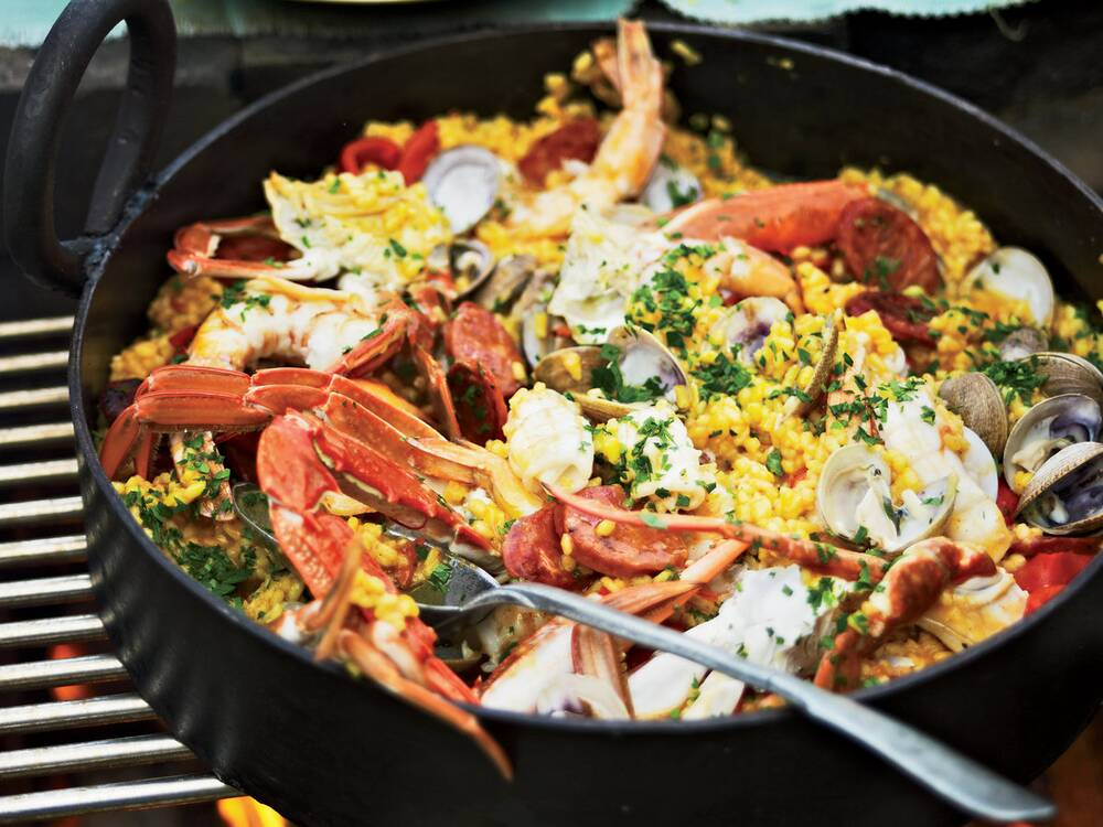 Easy grilled paella recipe pete evans food wine easy grilled paella forumfinder Images