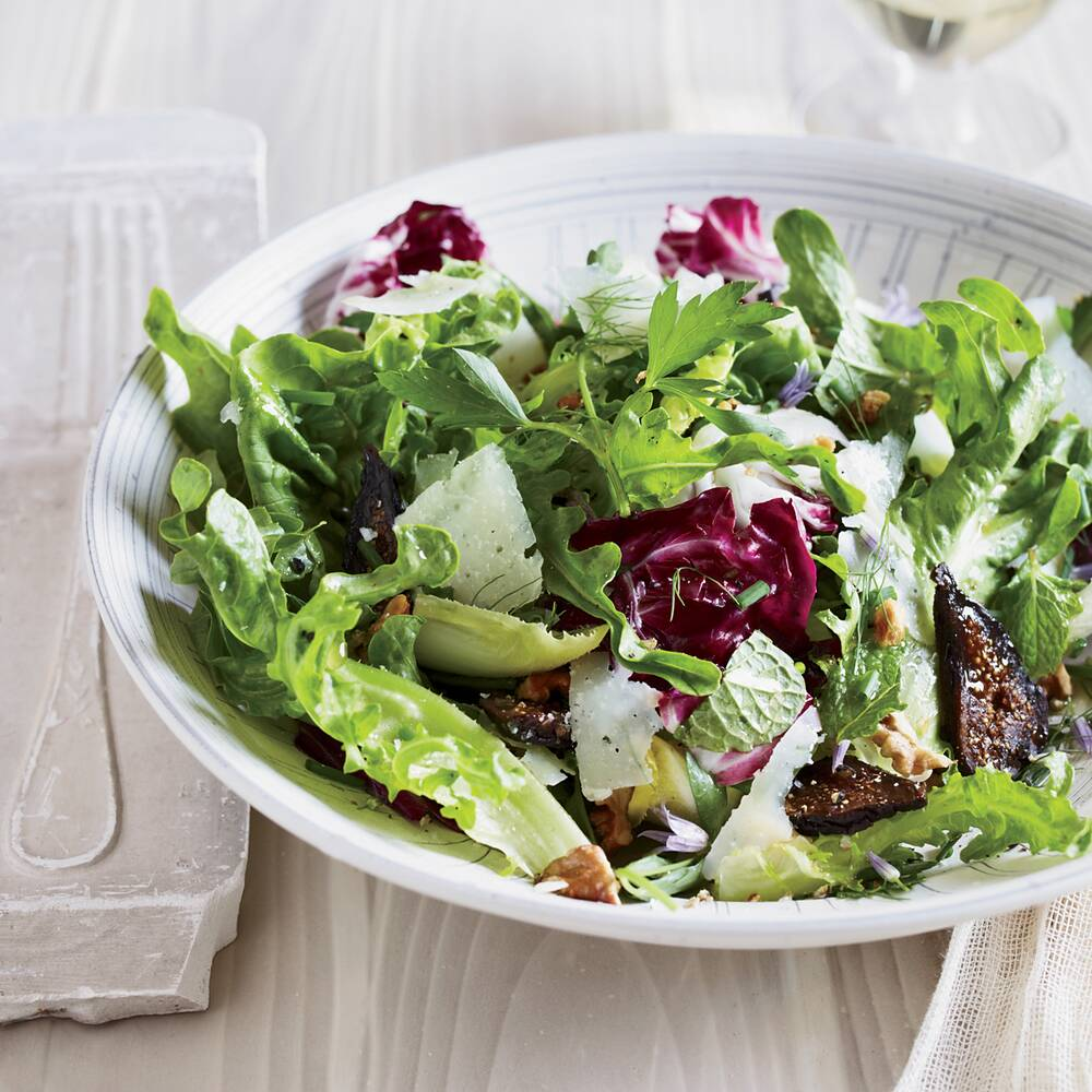 Mixed-Greens-and-Herb Salad with Figs and Walnuts Recipe - Jessica ...