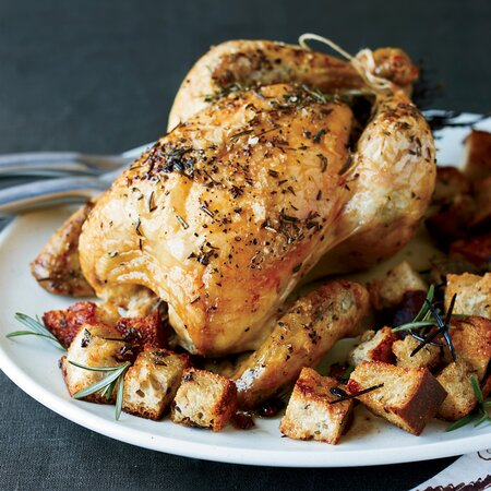 Brined Roast Chicken With Olive Bread Panzanella Recipe Floyd