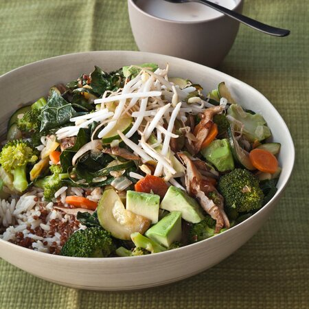Quinoa And Brown Rice Bowl With Vegetables And Tahini Recipe Gail
