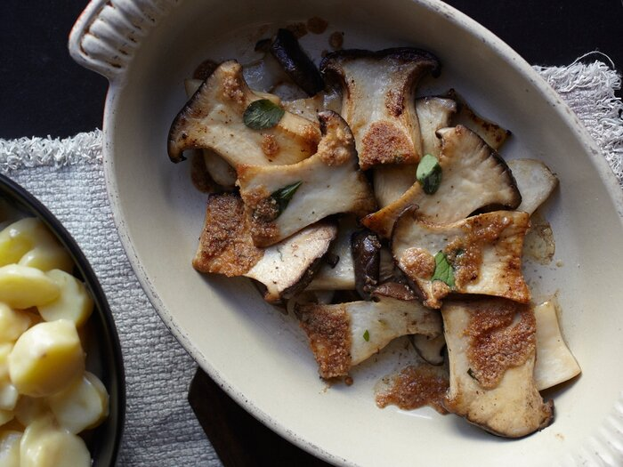 Roasted king oyster mushrooms recipe food wine forumfinder Image collections