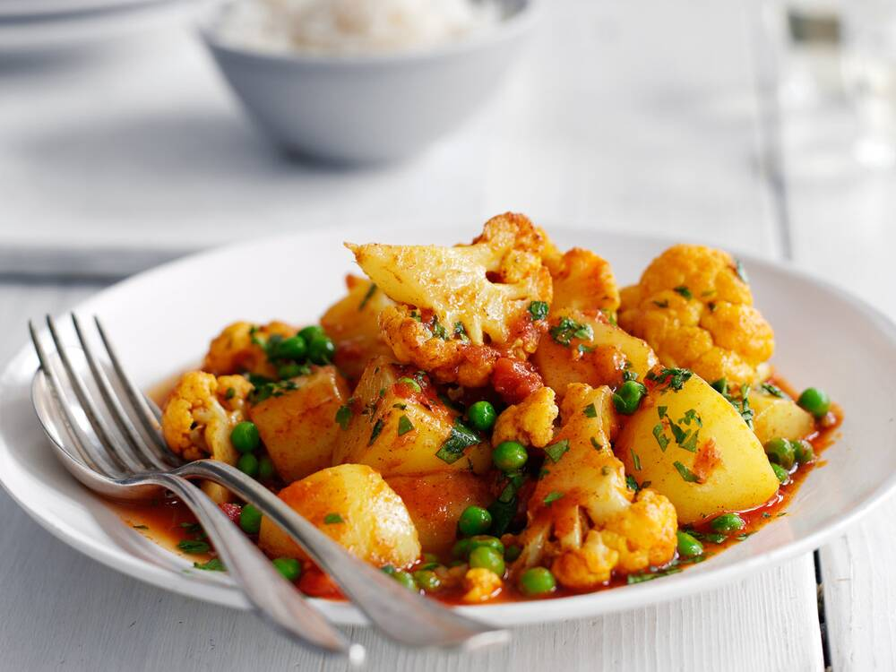 cauliflower potato and pea curry recipe quick from scratch herbs