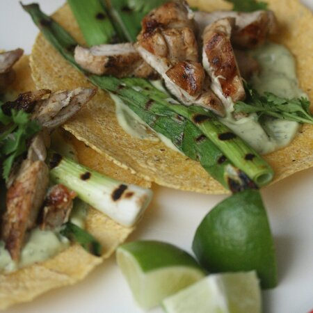 Lime Marinated Chicken Tacos With Grilled Scallions And Crema