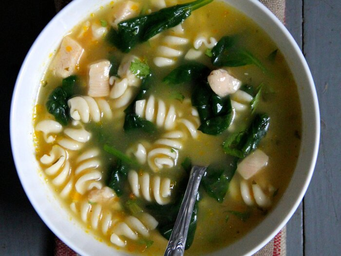 Baby spinach chicken noodle soup recipe ian knauer food wine baby spinach chicken noodle soup forumfinder Images