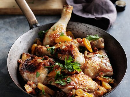 Spiced Chicken Legs With Apricots And Raisins Recipe Quick From