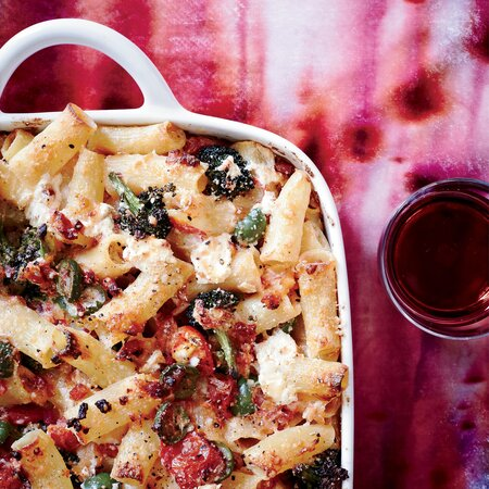 Baked Rigatoni With Broccoli Green Olives And Pancetta Recipe