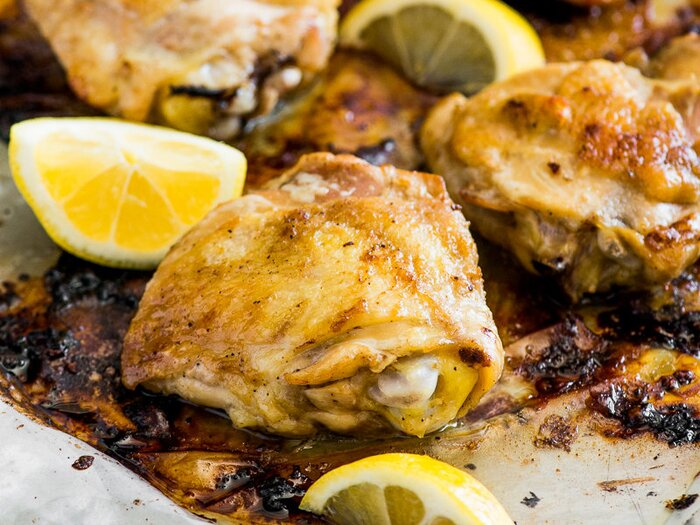 Lemon and garlic baked chicken thighs recipe todd porter and diane original 201404 r lemon garlic baked chicken thighs forumfinder Image collections