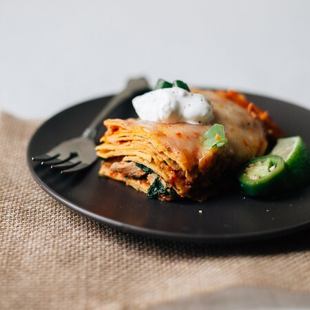 Enchilada Casserole With Pulled Chicken And Spinach