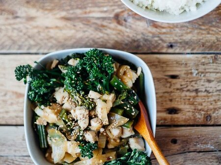 Chicken Stir Fry With Garlic And Baby Broccoli Recipe Molly Yeh