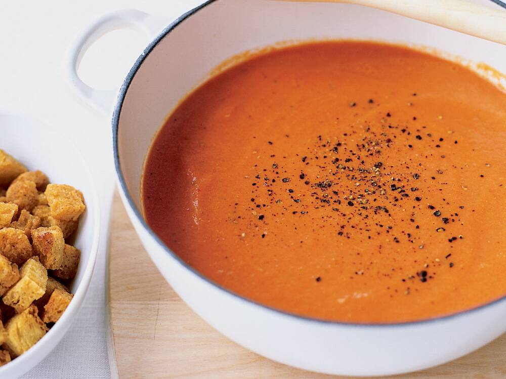 Creamy Tomato Soup with Buttery Croutons Recipe - Tom Douglas ...
