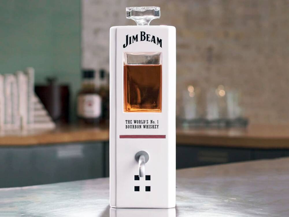 jim beam is selling a voice activated shot pouring machine food wine