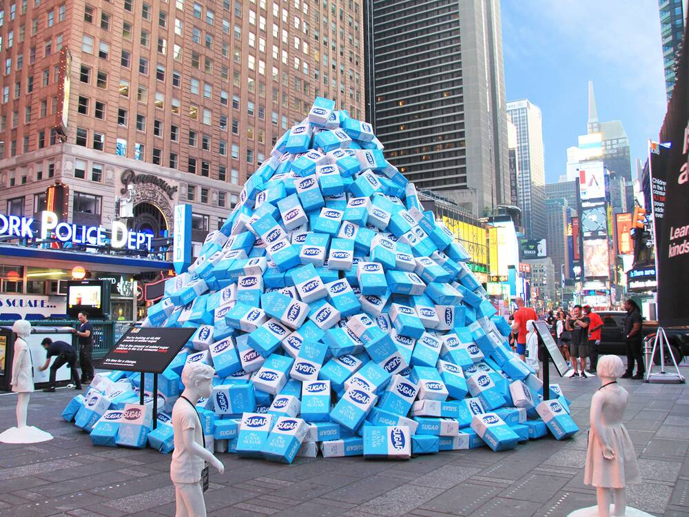 Times Square Installation Shows How Much Sugar Kids Eat Every 5 ...