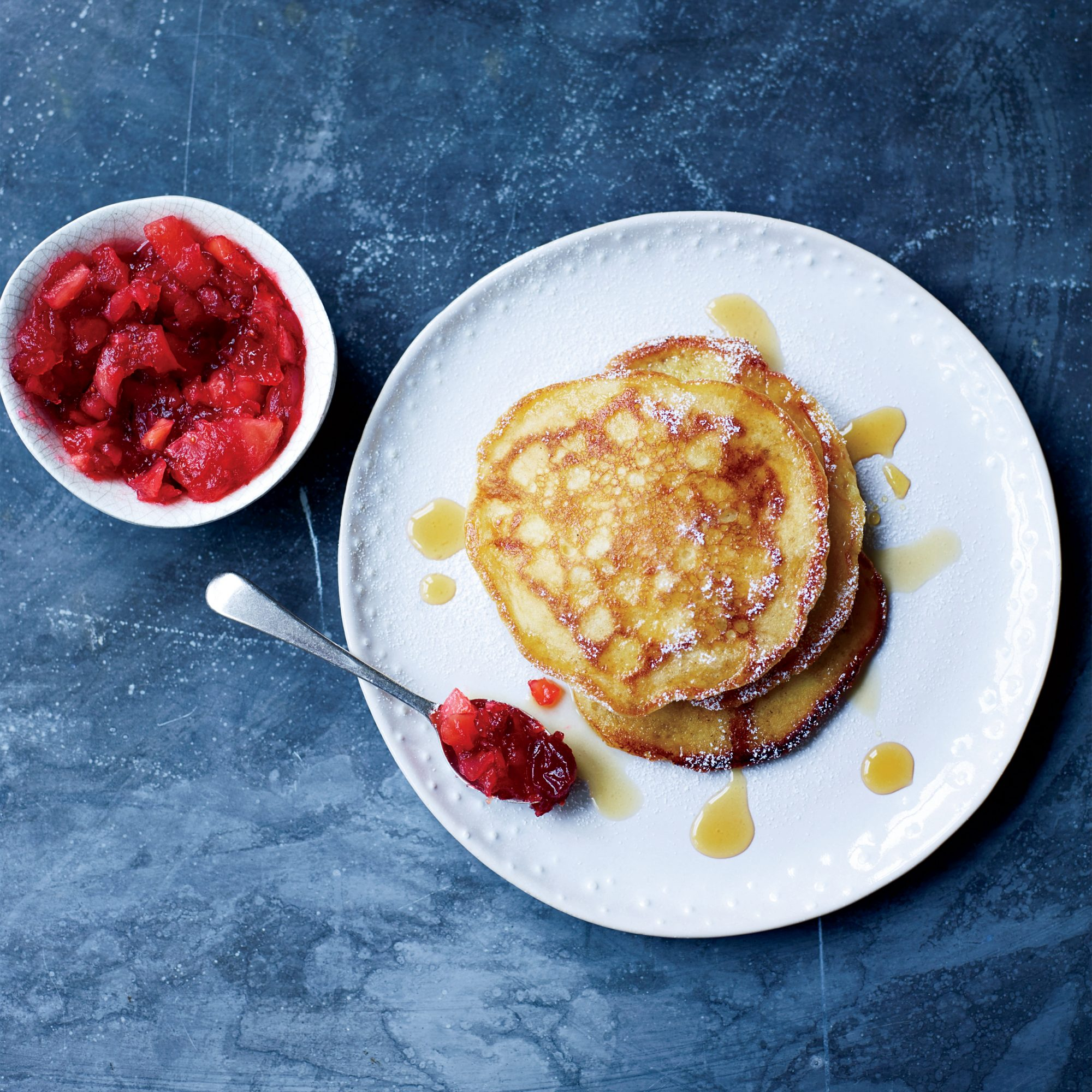 Buttermilk Pancakes with Quince and Cranberry Compote Recipe
