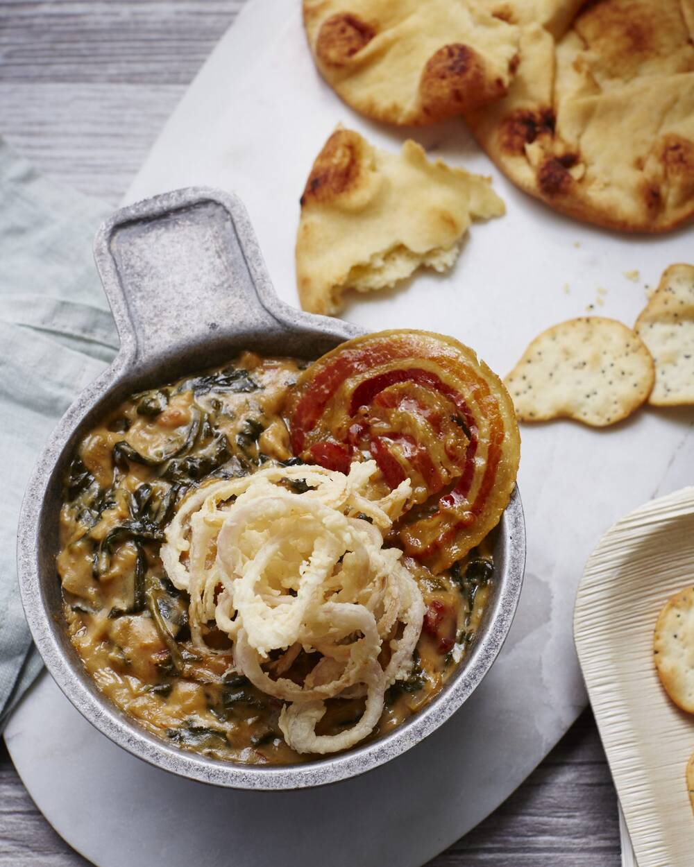 three cheese spinach and caramelized onion dip - Best Christmas Appetizers