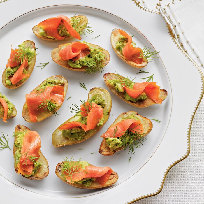 Easy party appetizer recipes portable ideas myrecipes fingerling potatoes with avocado and smoked salmon forumfinder Gallery