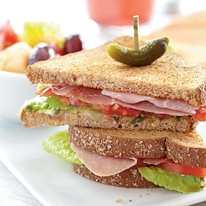 11 healthy sandwich ideas under 300 calories myrecipes prosciutto lettuce and tomato sandwiches forumfinder Images