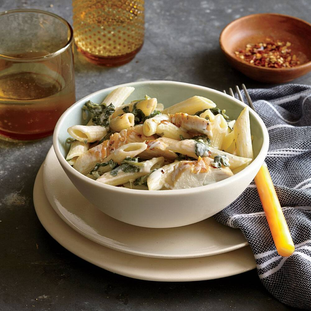 two cheese penne with chicken and spinach recipe myrecipes