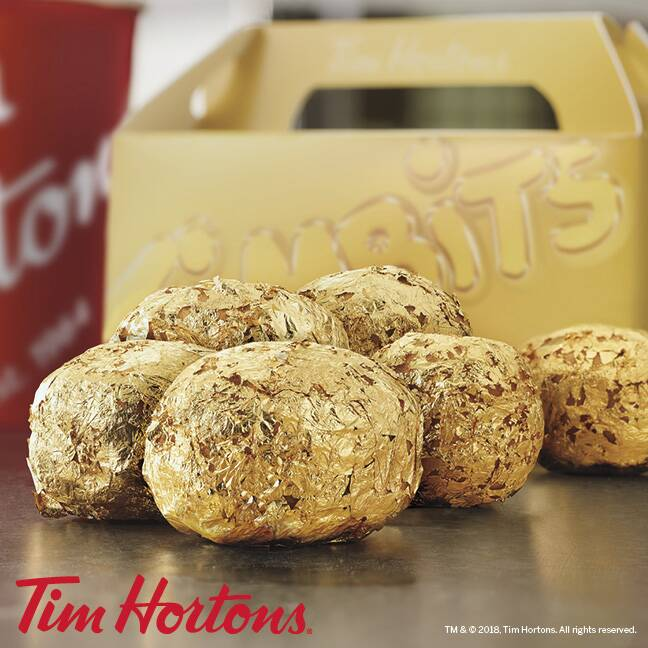Tim Hortons Is Giving Away Gold Doughnut Holes Extra Crispy