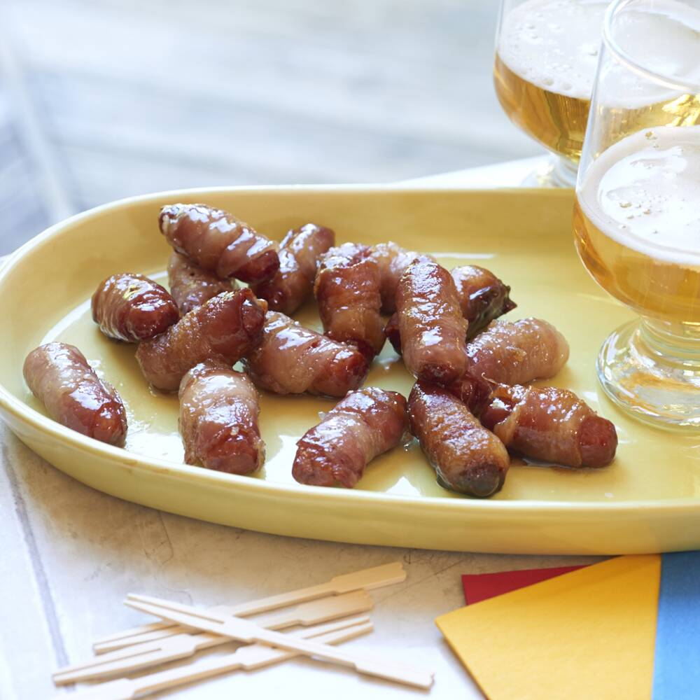 bacon wrapped smokies with brown sugar butter recipe myrecipes