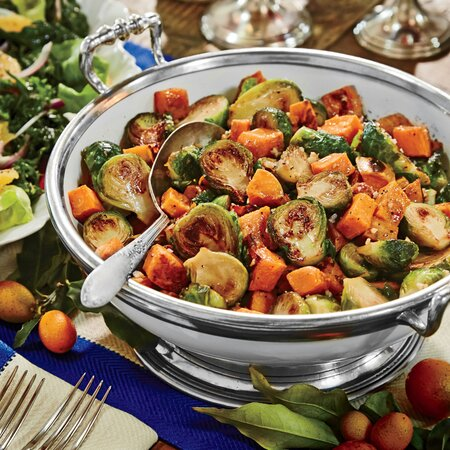 Caramelized Sweet Potatoes And Brussels Sprouts Recipe Myrecipes