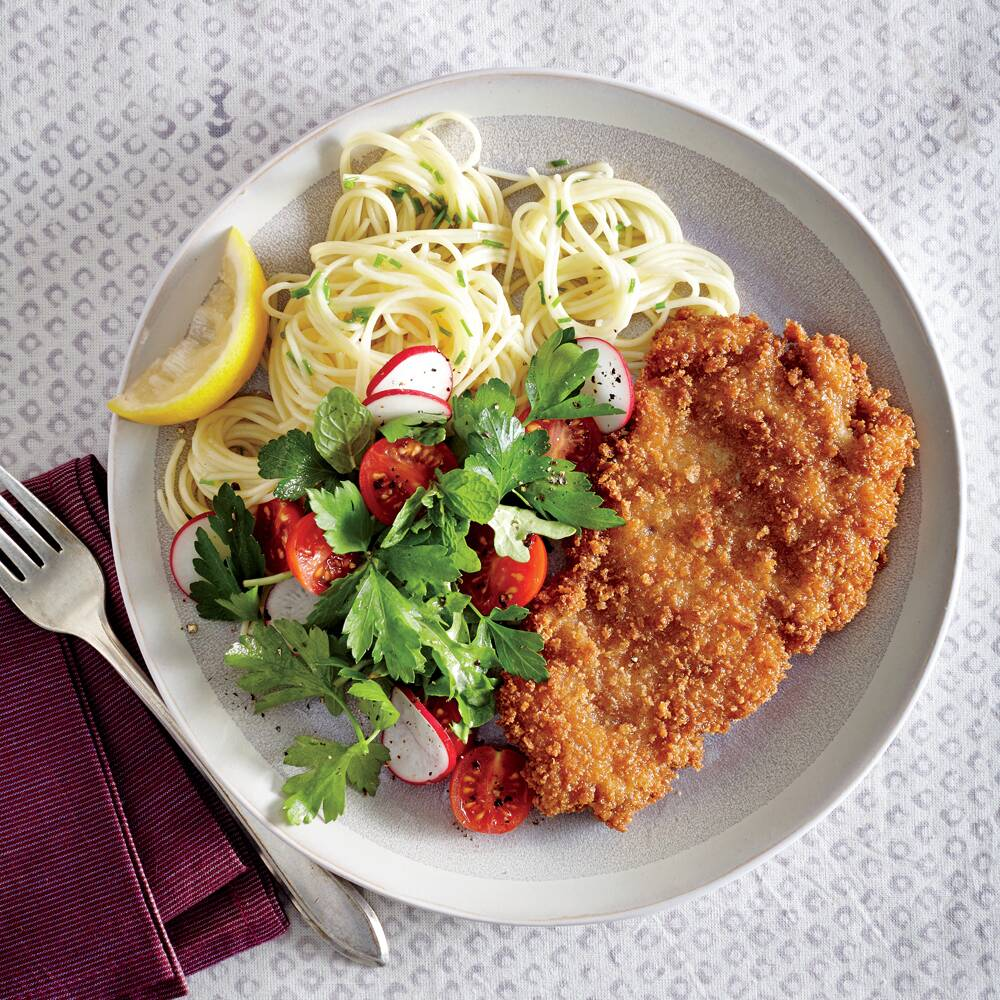 Crispy chicken cutlets with butter chive pasta recipe myrecipes crispy chicken cutlets with butter chive pasta forumfinder Choice Image