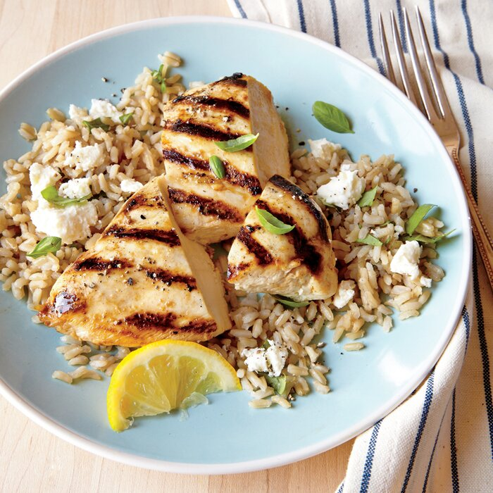 Grilled lemon chicken with feta rice recipe myrecipes grilled lemon chicken with feta rice forumfinder Images