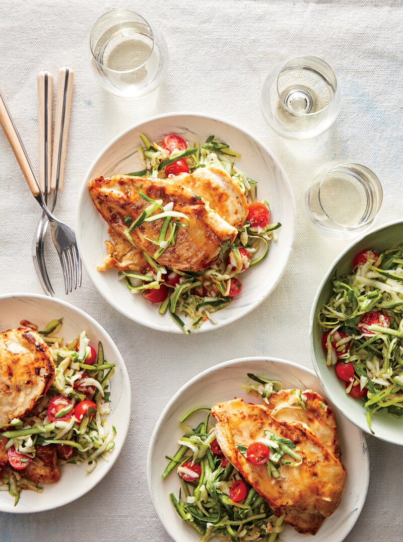 Honey-Dijon Chicken Paillards with Zucchini Slaw