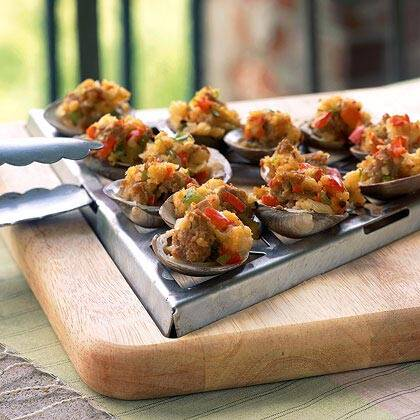 Grilled clams with sambuca and italian sausage recipe myrecipes grilled clams with sambuca and italian sausage forumfinder Images