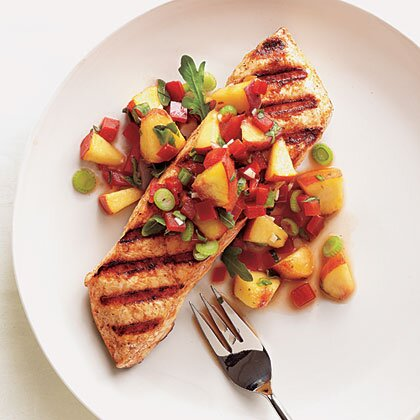 Grilled Halibut With Peach And Pepper Salsa Recipe Myrecipes