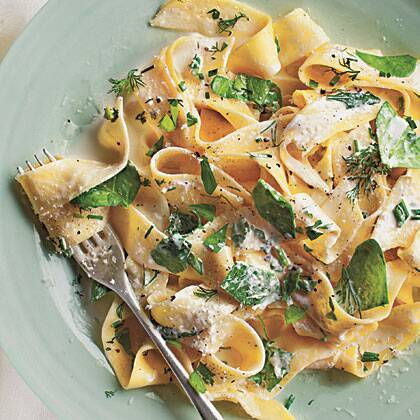 pappardelle with baby spinach herbs ricotta recipe myrecipes
