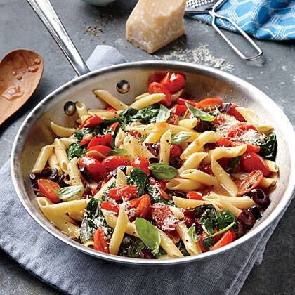 grape tomato olive and spinach pasta recipe myrecipes