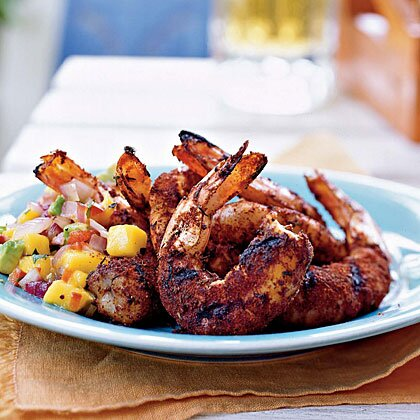 Jerk Shrimp Grilled Onion Avocado Mango Salsa Recipe Myrecipes