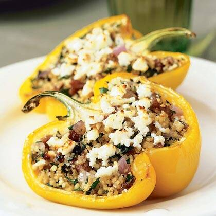 Mediterranean lamb couscous stuffed peppers recipe myrecipes mediterranean lamb and couscous stuffed peppers forumfinder Images