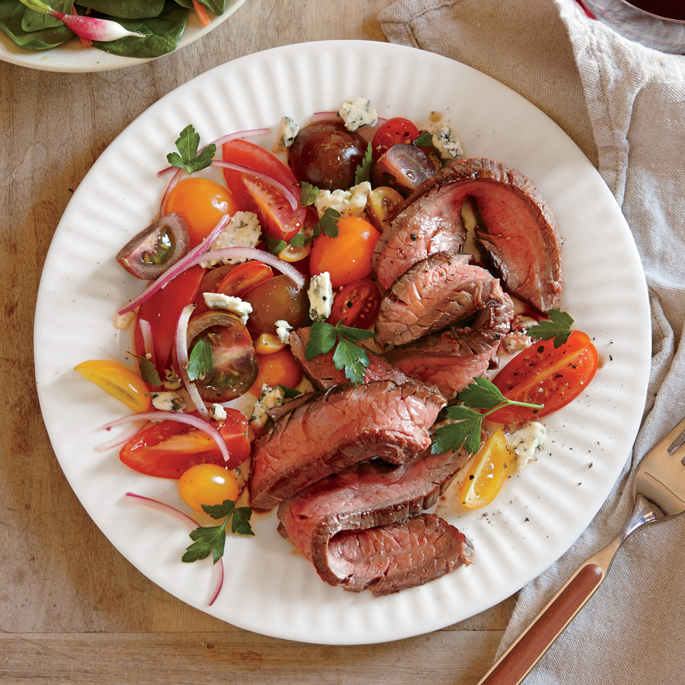 seared steak with tomato and blue cheese salad recipe | myrecipes