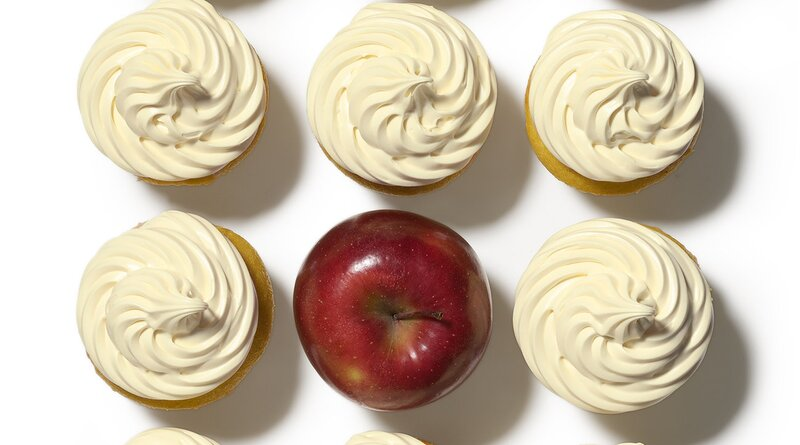 11 cupcakes and one apple