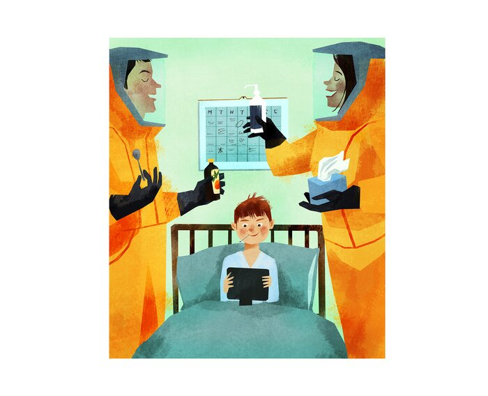 How to deal with a sick kid real simple illustration sick kid in bed with ipad parents in hazmat suits taking care of altavistaventures Gallery