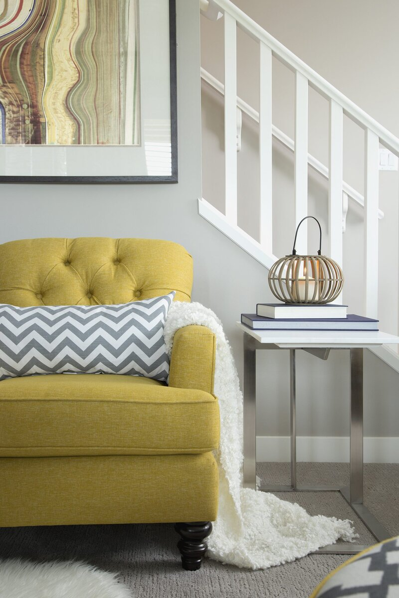 Yellow Couch and Chevron Pillow