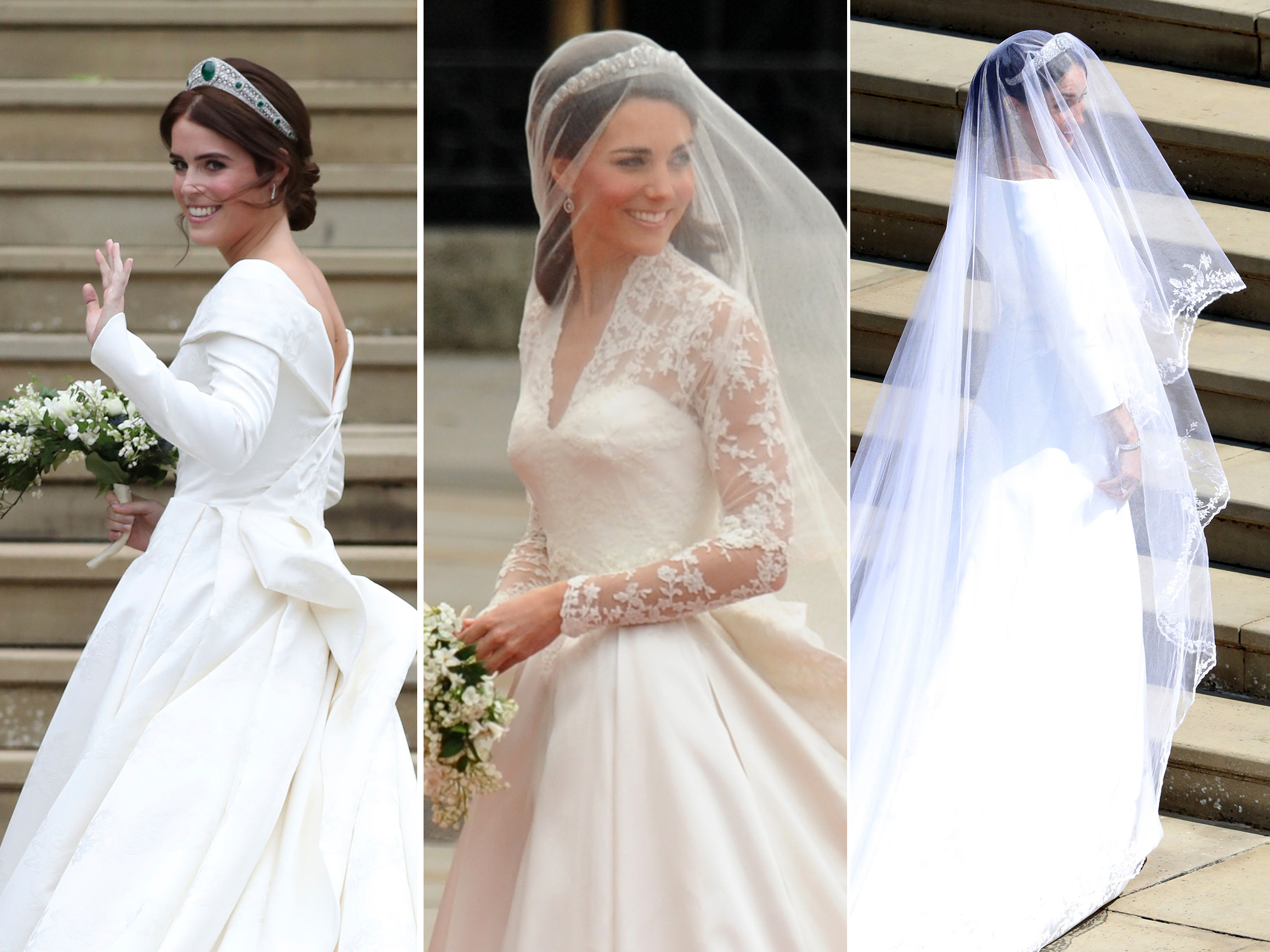 How Princess Eugenies Wedding Dress Differs From Kate Middleton And Meghan Markles