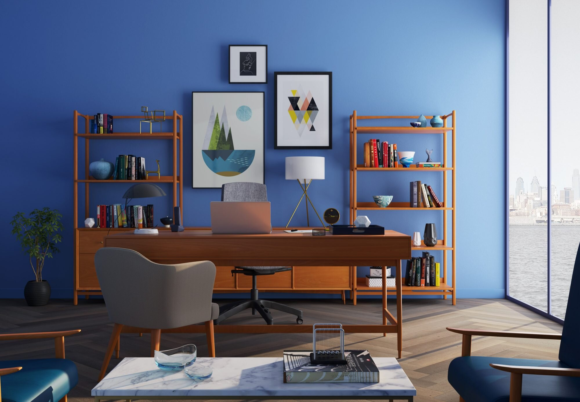 Corner Home Office E With Navy Blue Wall