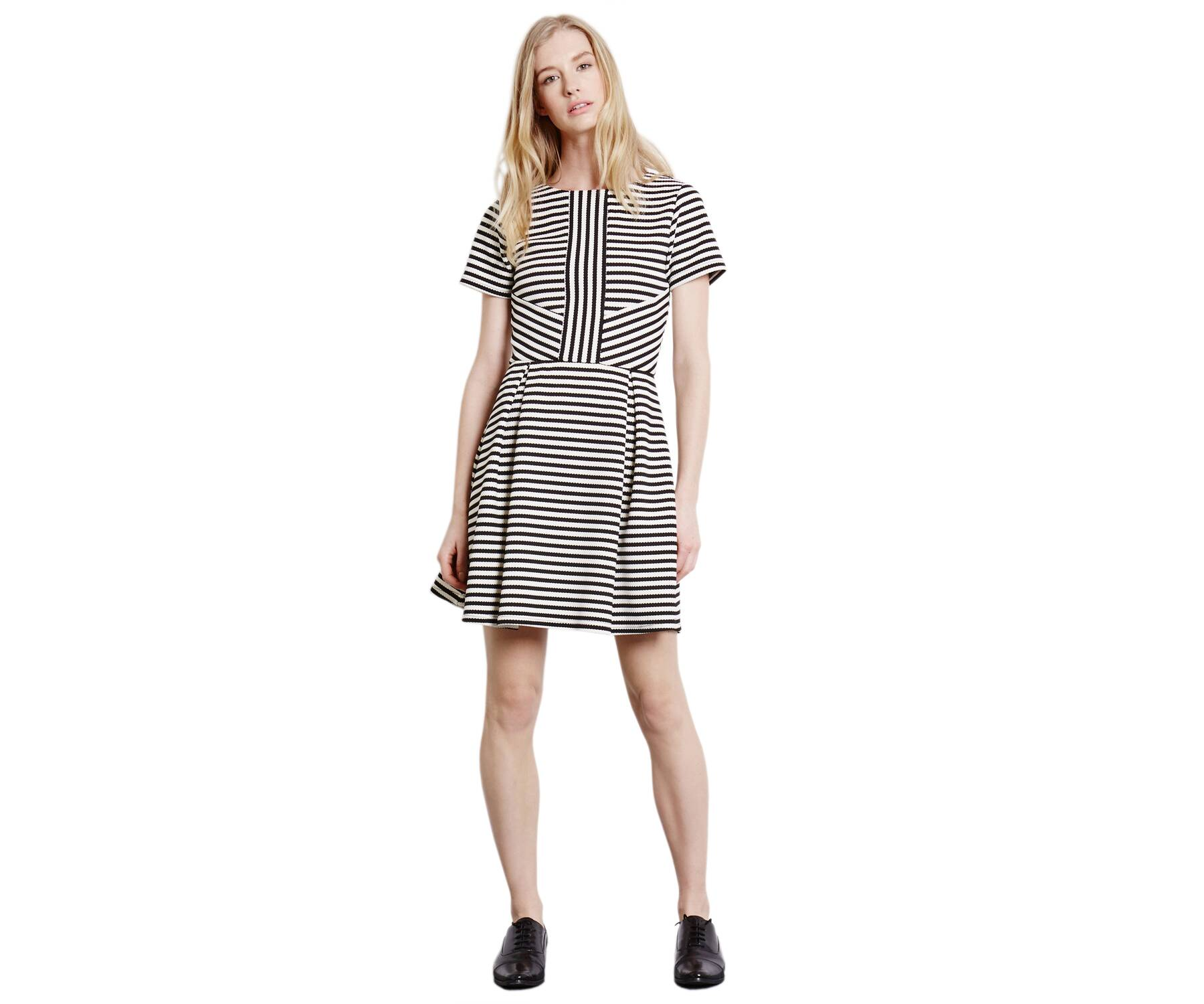 Warehouse Stripe Fit And Flare Dress