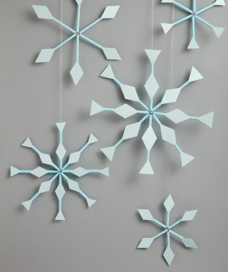 Paper Straw Snowflake Window Hangings