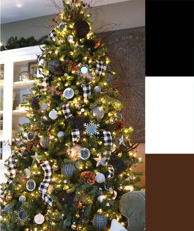 black white plaid tree