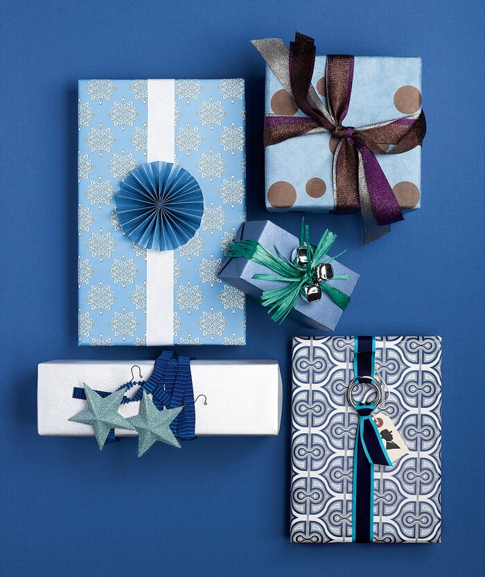 Holiday gift wrapping ideas real simple wrapped gifts in blue negle Gallery