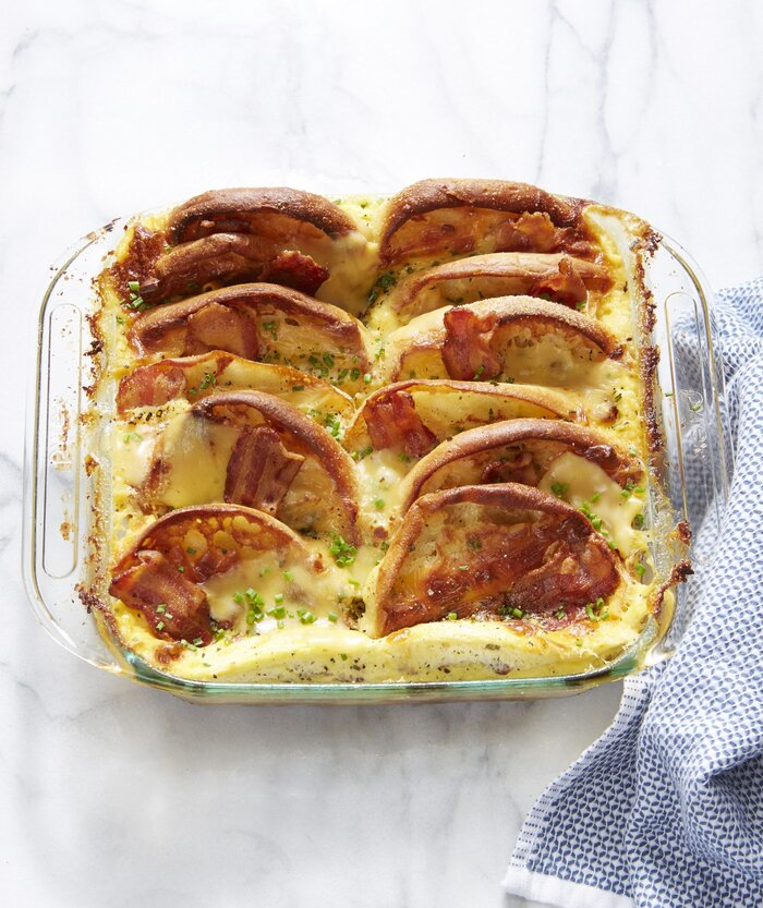 Bacon egg and cheese english muffin strata recipe real simple bacon egg and cheese english muffin strata forumfinder Choice Image