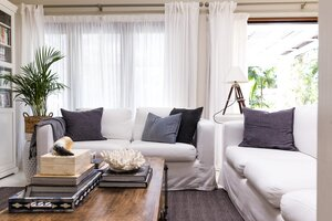 Beachy Living Room With Couches And Throw Pillows